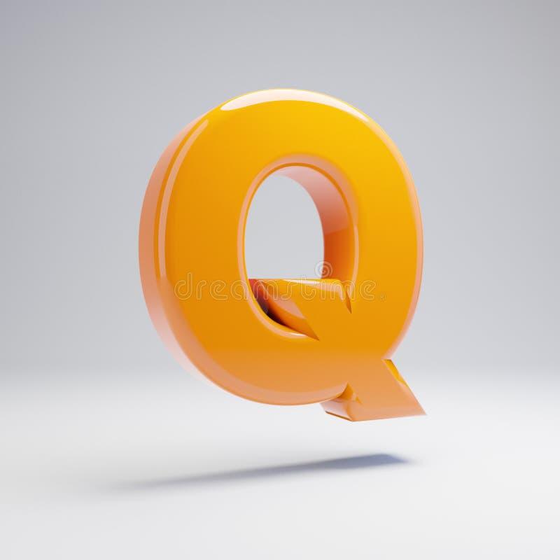 Wolumetryczny glansowany gorący pomarańczowy uppercase list Q odizolowywający na białym tle ilustracji