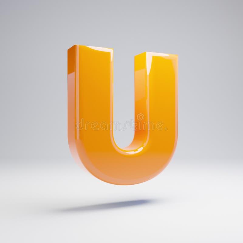 Wolumetryczny glansowany gorący pomarańczowy uppercase list U odizolowywający na białym tle ilustracja wektor