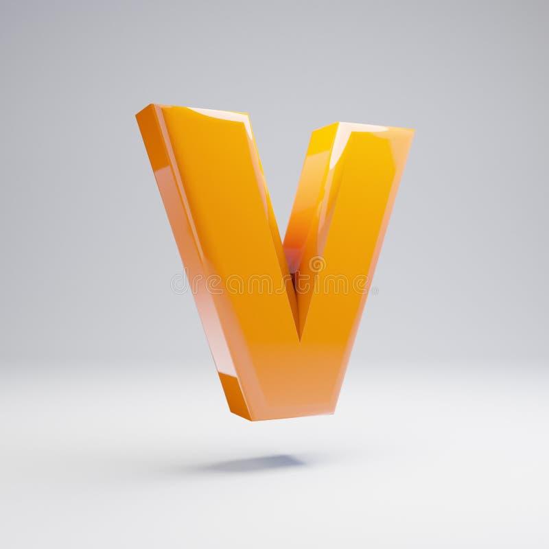Wolumetryczny glansowany gorący pomarańczowy uppercase list V odizolowywający na białym tle ilustracji