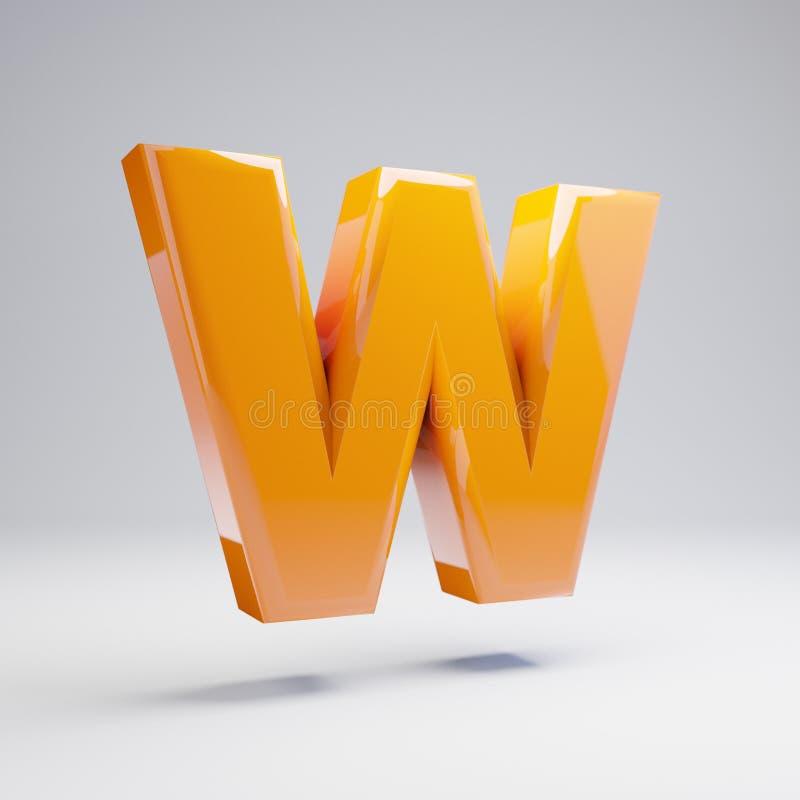 Wolumetryczny glansowany gorący pomarańczowy uppercase list W odizolowywający na białym tle ilustracja wektor