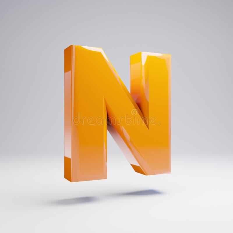 Wolumetryczny glansowany gorący pomarańczowy uppercase listowy N odizolowywający na białym tle royalty ilustracja