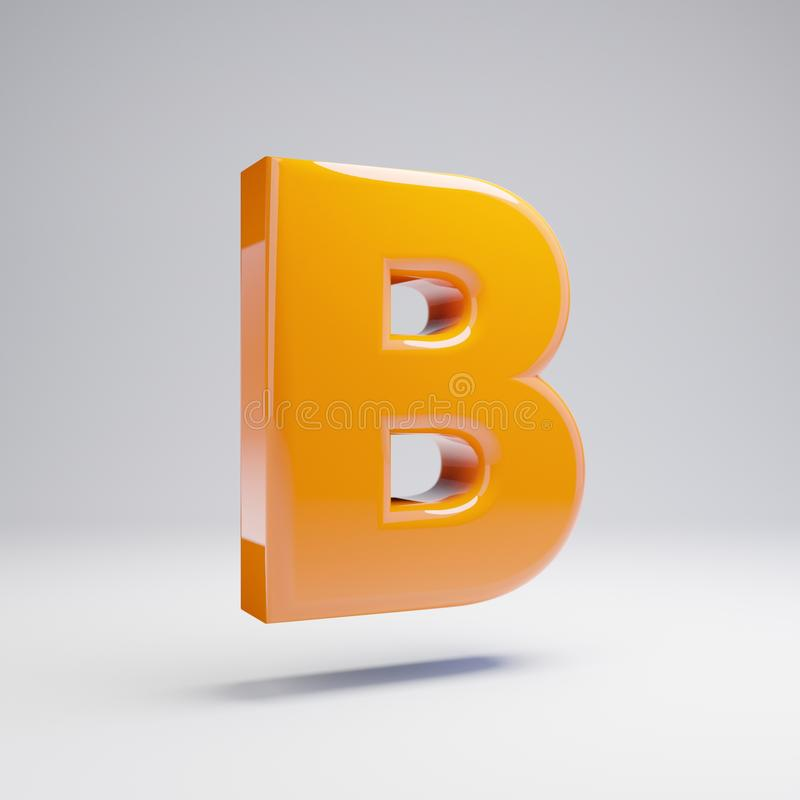 Wolumetryczny glansowany gorący pomarańczowy uppercase listu b odizolowywający na białym tle royalty ilustracja
