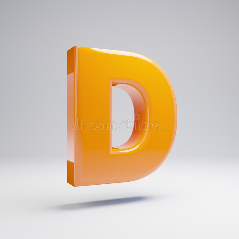 Wolumetryczny glansowany gorący pomarańczowy uppercase listu d odizolowywający na białym tle ilustracji
