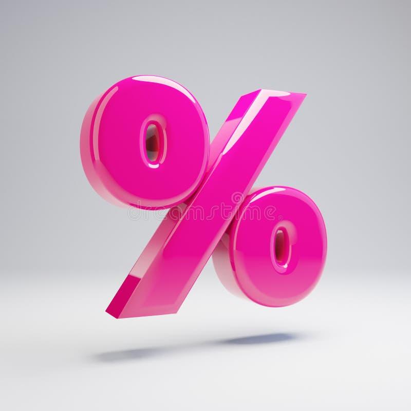 Wolumetryczny glansowany różowy procentu symbol odizolowywający na białym tle ilustracja wektor