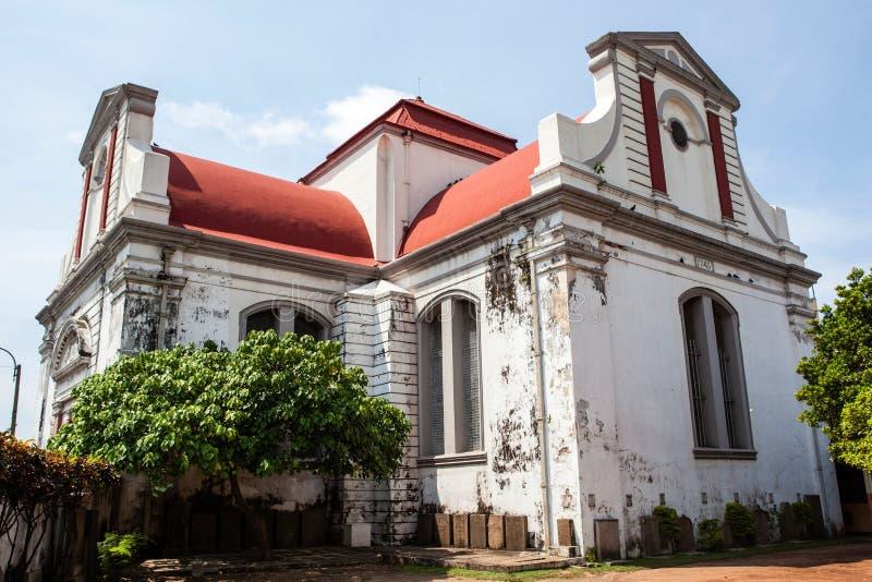 Wolvendaal kyrka - en holländare omdanade den Christian Colonial VOC-kyrkan i Colombo, Sri Lanka arkivbild