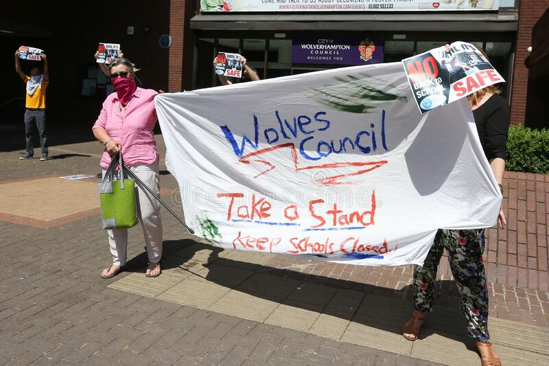 WOLVERHAMPTON, UNITED KINGDOM - May 28, 2020: Covid-19. Protest against reopening the schools. WOLVERHAMPTON, UNITED KINGDOM - May 28, 2020: Wolverhampton royalty free stock photo