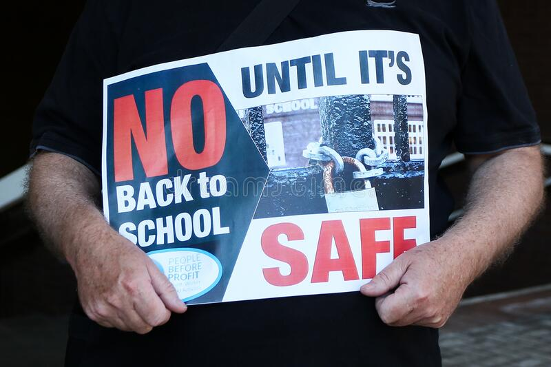 WOLVERHAMPTON, UNITED KINGDOM - May 28, 2020: Covid-19. Protest against reopening the schools. WOLVERHAMPTON, UNITED KINGDOM - May 28, 2020: Wolverhampton stock photography