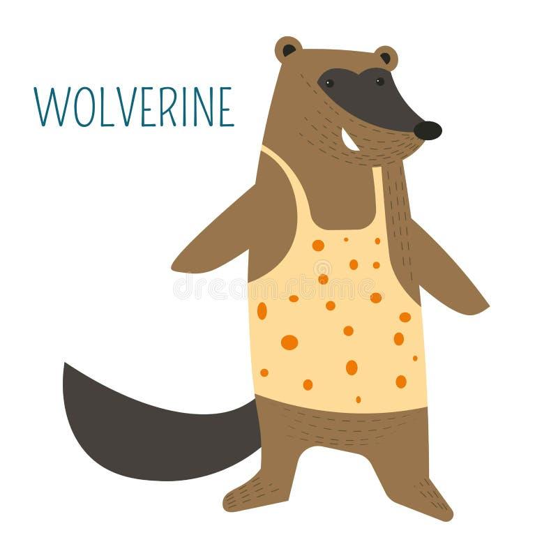 Wolverine in kinderachtig het boekkarakter van het overhemdsbeeldverhaal royalty-vrije illustratie