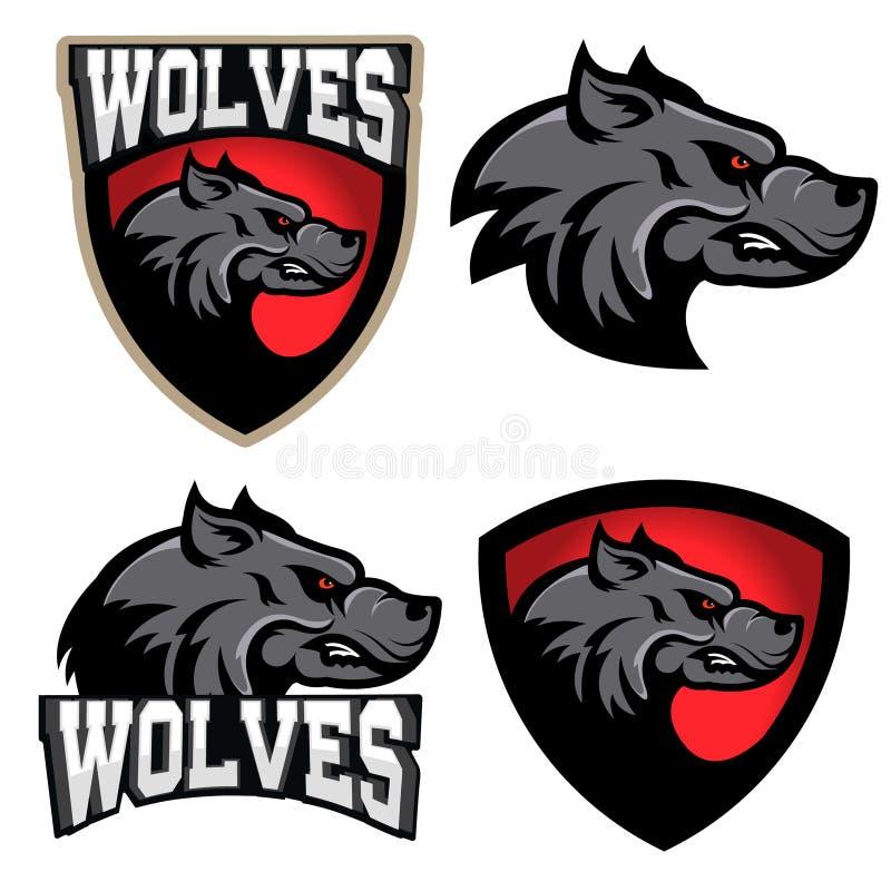 wolves Mall för logo för sportlag Maskot stock illustrationer