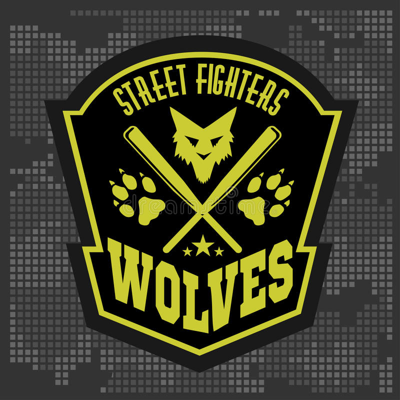 Wolves - military label, badges and design royalty free illustration