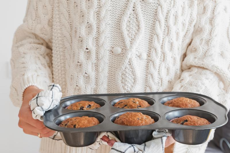 Woma`s hands holding a tray with delicious fresh baked muffins royalty free stock photo