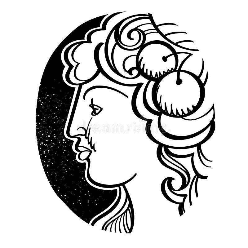 Woman's外形-得墨忒耳,古希腊女神 库存例证