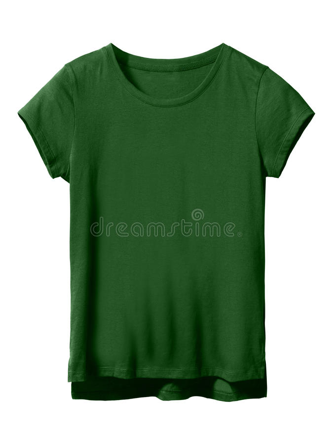 Woman's bottle green textile t-shirt isolated on white. Woman's dark bottle green textile t-shirt isolated on white background stock photos