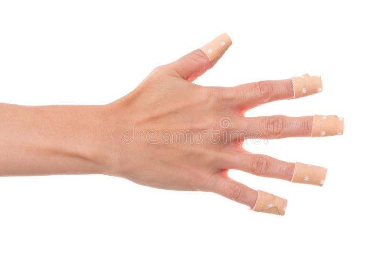 WomanÂs hand limmade mycket medicinsk murbruk som isolerades på vit, royaltyfria foton