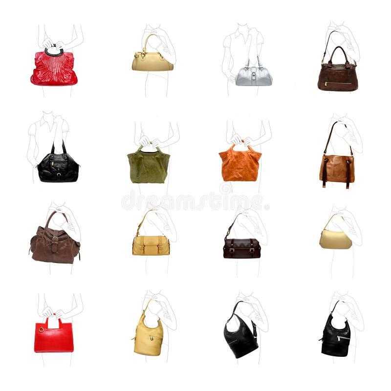 Woman' сумка s на белом разнообразии стоковое изображение