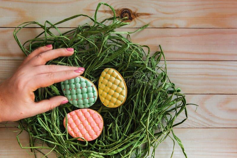 Woman& x27;s手采取其中一个从巢的五颜六色的复活节彩蛋曲奇饼在轻的木背景 免版税库存图片