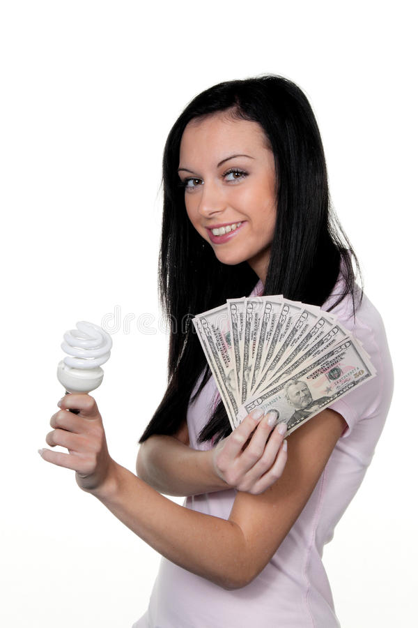 Download Woman stock image. Image of lamp, lumens, economy, waste - 14630233