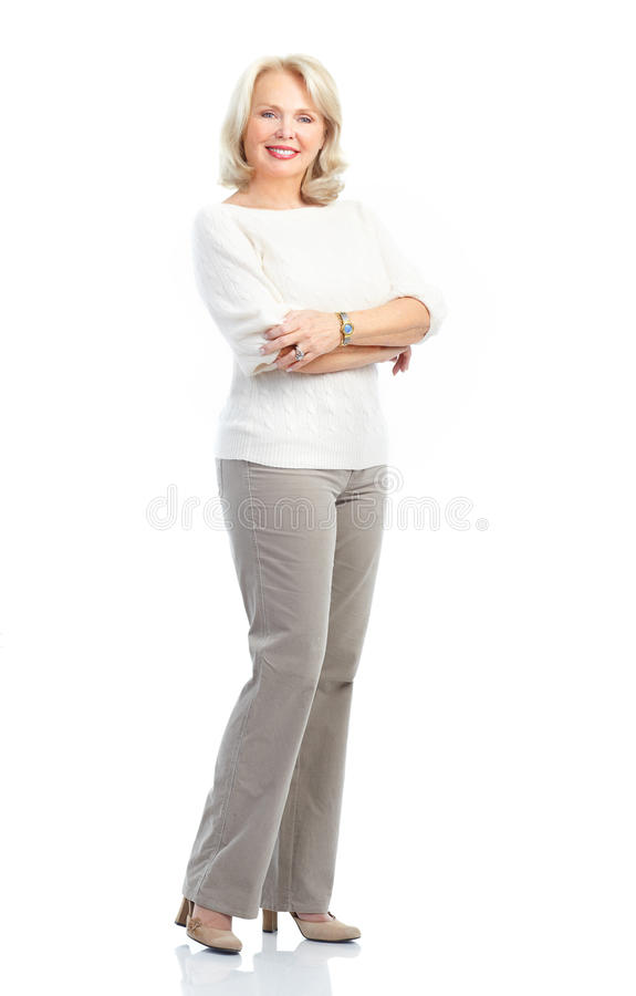 Woman. Smiling happy elderly woman. Isolated over white background stock photos