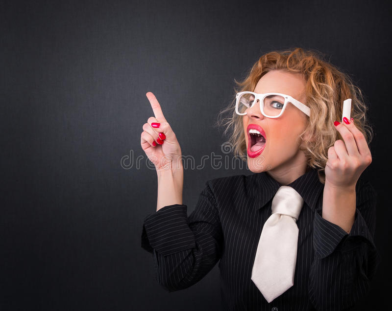 Download Woman stock photo. Image of creazy, up, facial, blackboard - 28750236