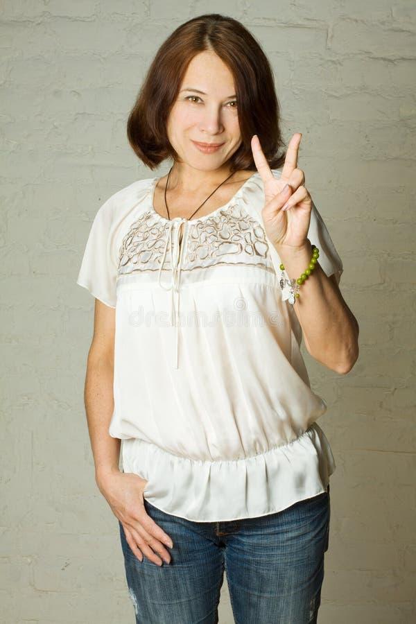 Woman, 40s - smiling brunette. Woman, 40s - smiling mature brunette stock photos
