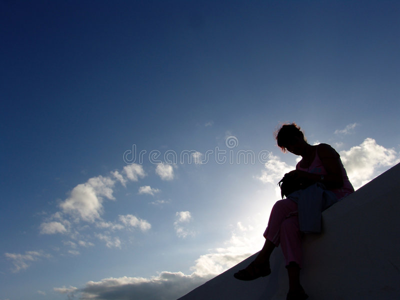 Download Woman stock image. Image of woman, seat, white, wall, clouds - 454597