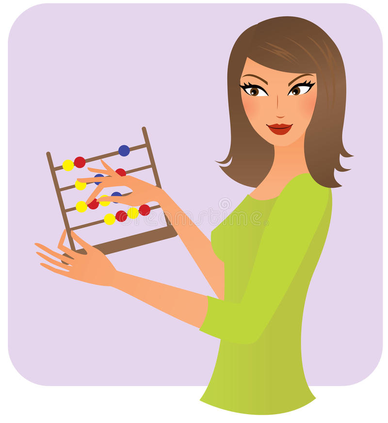 Woman with an abacus. Young woman with an abacus counting stock illustration