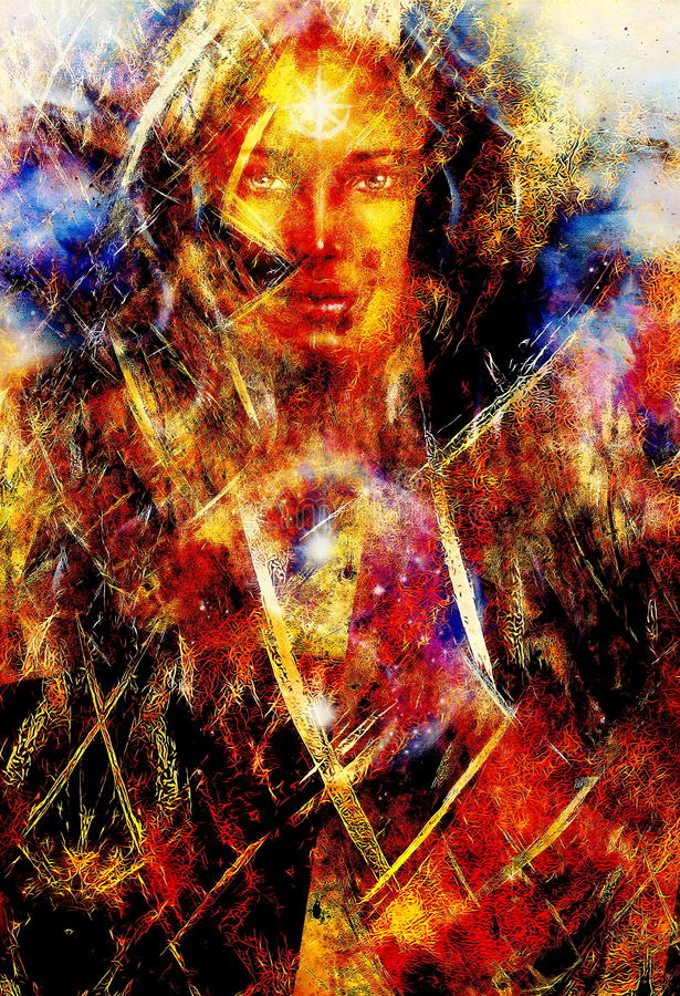 Woman and abstract background. Fractal and fire effect. Woman and abstract background. Fractal and fire effect royalty free illustration