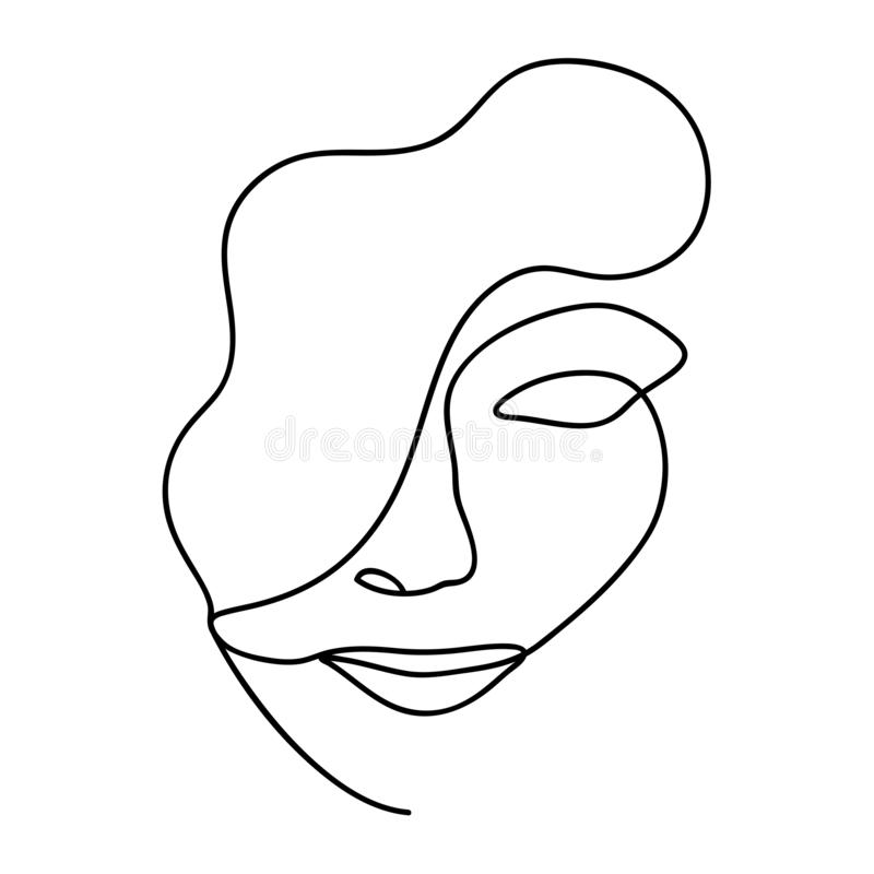 Woman abstract face, one line drawing. Hand drawn outline illustration. Continuous line. Portret female. Vector illustration. Woman abstract face, one line stock illustration