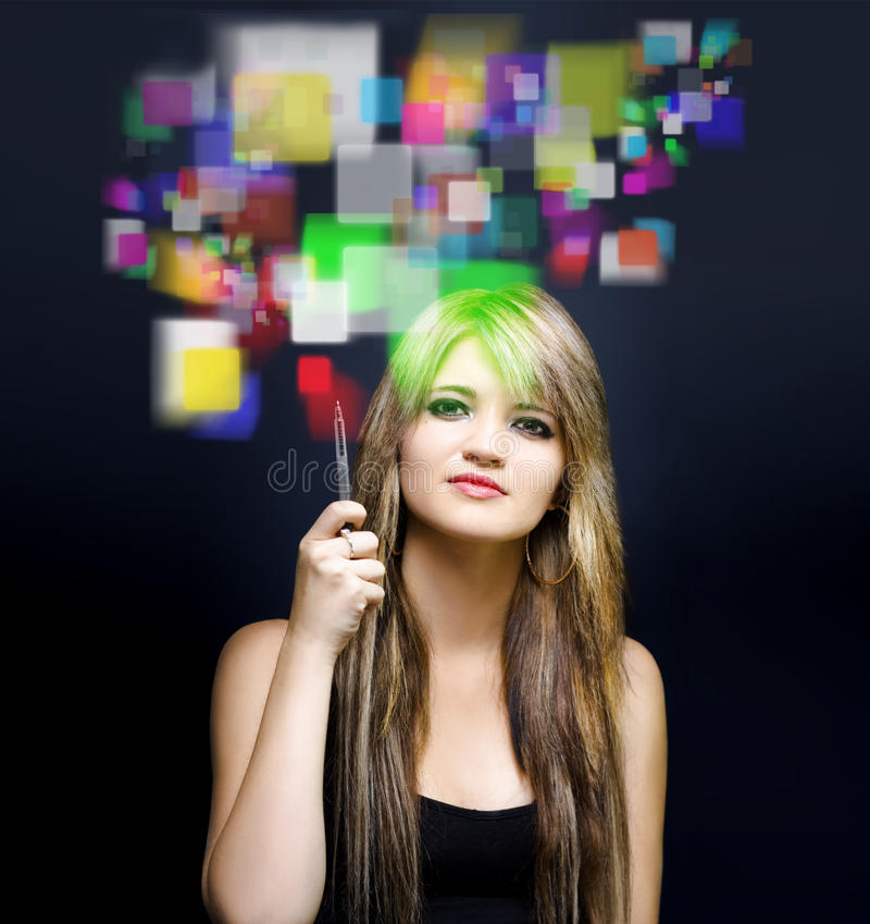Woman Accessing Digital Media With Touch Screen Stock Photos