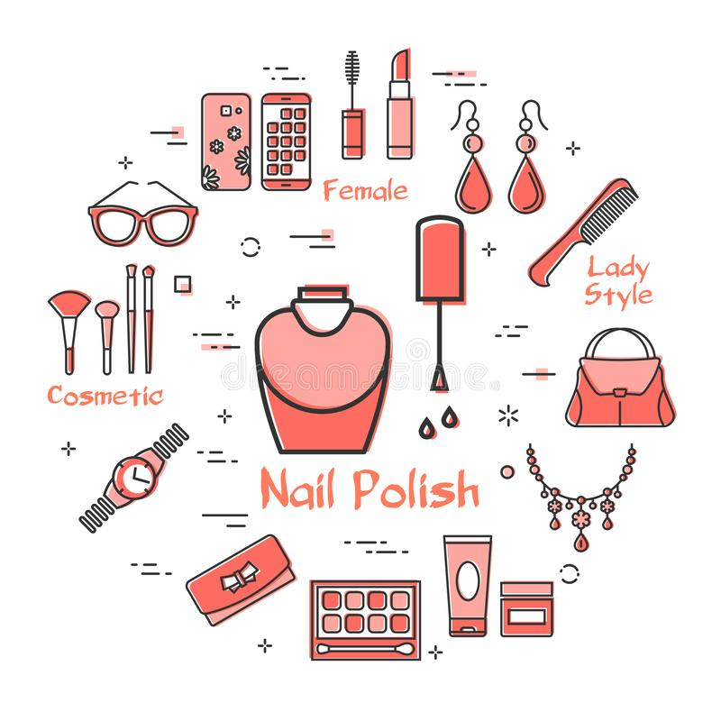 Woman Accessories Concept with Nail Polish Icon. Vector linear red round concept of Nail Polish. Cosmetic, jewelry, hygiene items, clothing, shoes and other stock illustration