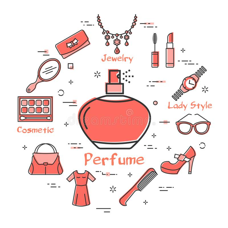 Woman Accessories Concept with Perfume Vessel Icon. Vector linear red round concept of aromatic perfume vessel. Cosmetic, jewelry, hygiene items, clothing, shoes vector illustration