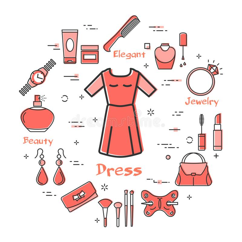 Woman Accessories Concept - Red Classic Dress Icon. Vector linear red round concept of spring or summer light classic dress. Cosmetic, jewelry, clothing, shoes stock illustration