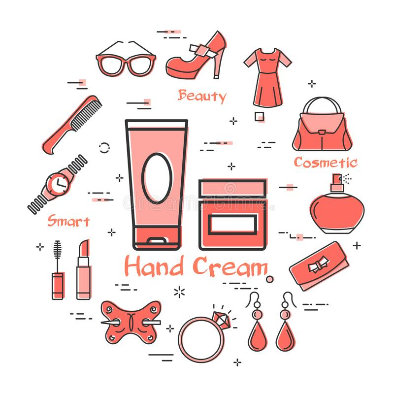Woman Accessories Concept with Red Hand Cream Icon. Vector linear red round concept of two packaging of hand cream. Cosmetic, jewelry, hygiene items, clothing royalty free illustration