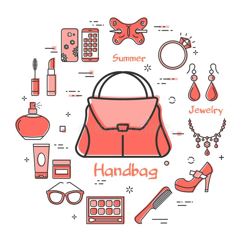 Woman Accessories Concept with Red Handbag Icon. Vector linear red round concept of woman handbag. Cosmetic, jewelry, hygiene items, clothing, shoes and other vector illustration