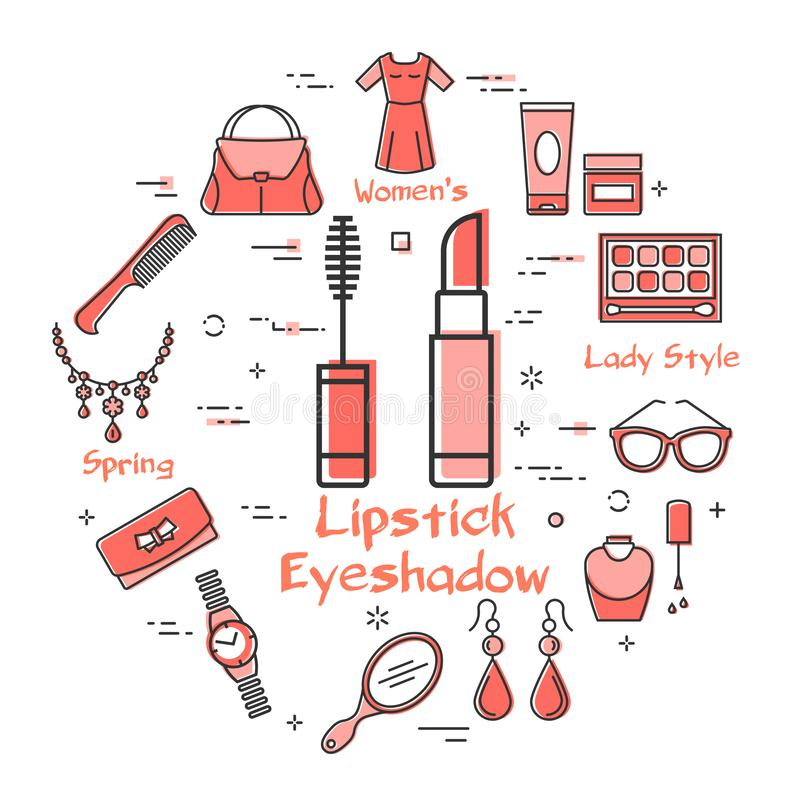 Woman Accessories Concept with Red Icons. Lipstick. Vector linear red round concept of lipstick and eyeshadow. Cosmetic, jewelry, hygiene items, clothing, shoes vector illustration