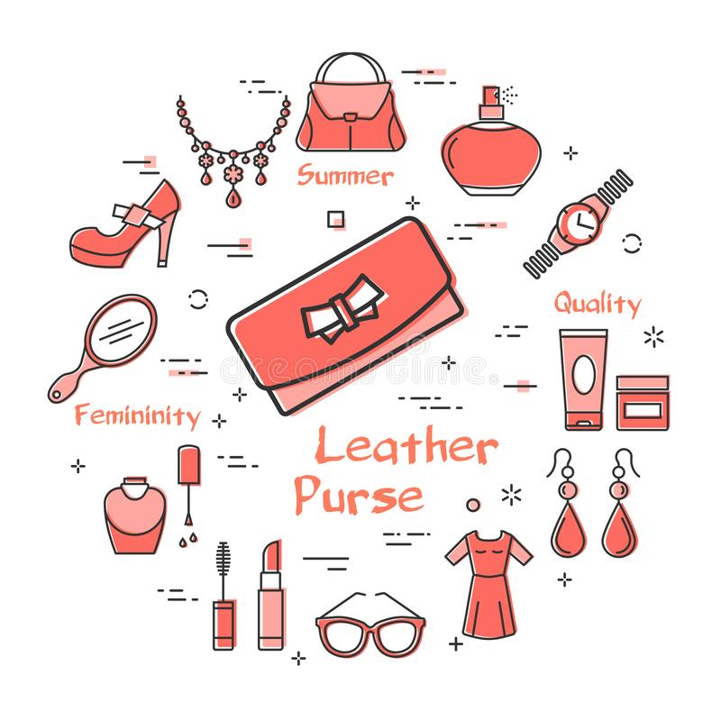 Woman Accessories Concept with Red Leather Purse. Vector linear red round concept of elegant leather wallet or purse. Cosmetic, jewelry, hygiene items, clothing stock illustration