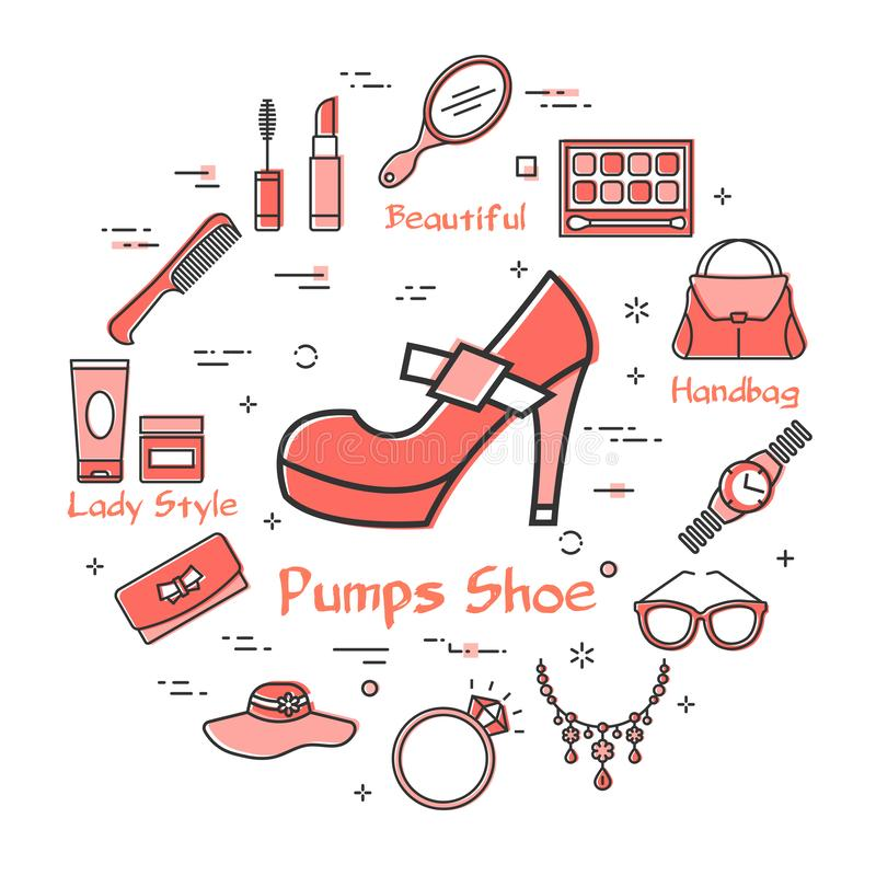 Woman Accessories Concept with Red Pumps Shoe Icon. Vector linear red round concept of pumps shoe. Cosmetic, jewelry, hygiene items, clothing, shoes and other vector illustration
