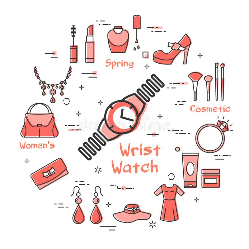 Woman Accessories Concept with Wrist Watch Icon. Vector linear red round concept of wrist watch. Cosmetic, jewelry, hygiene items, clothing, shoes and other stock illustration