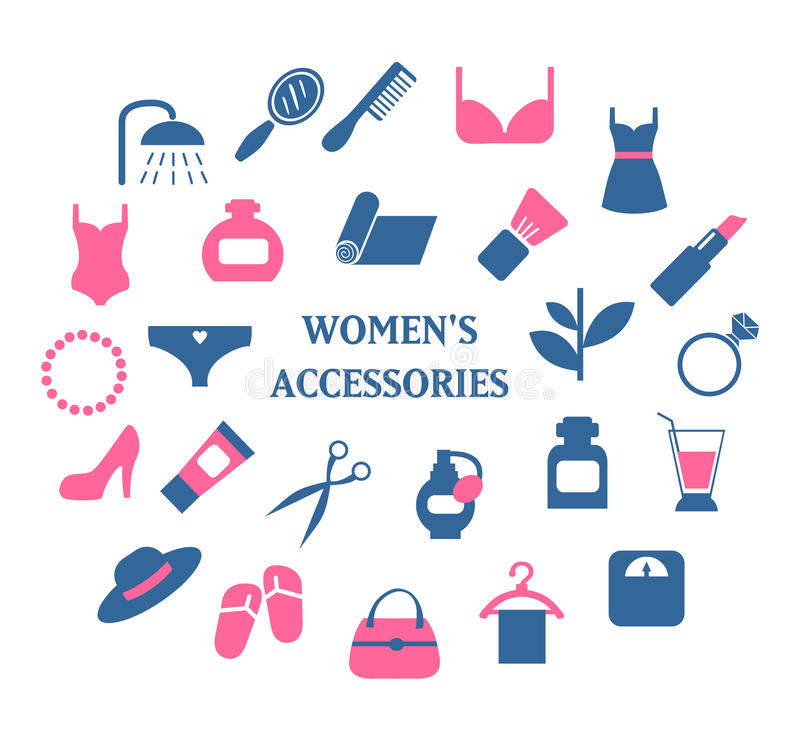 Woman accessories icons set vector royalty free illustration