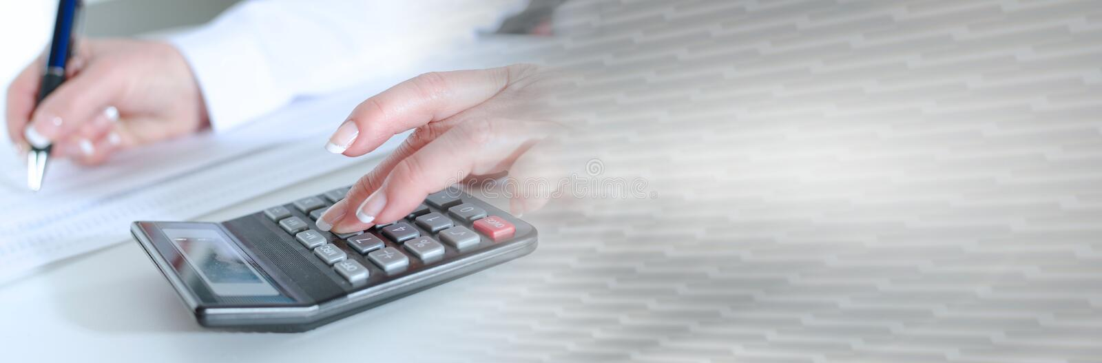 Woman accountant; panoramic banner stock images