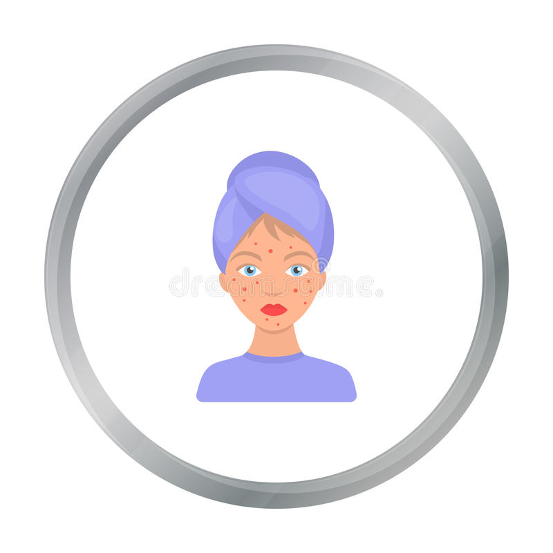 Woman with acne icon in cartoon style isolated on white background. Skin care symbol stock vector illustration. Woman with acne icon in cartoon style isolated vector illustration