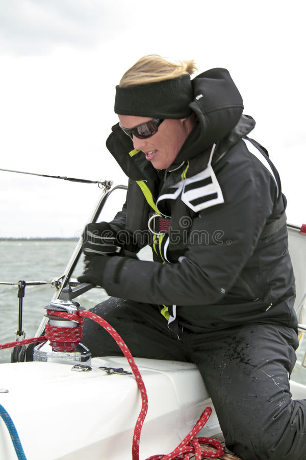 Download Woman In Action During A Sail Competition Stock Image - Image: 25079553