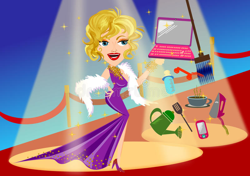 Woman activities. Woman busy activities. celebrity on red carpet concept vector illustration isolated