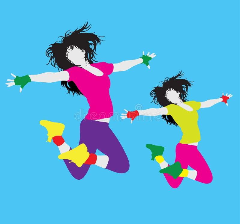 Woman Activity and Hip Hop Break Dance Modern Dance Silhouette stock illustration