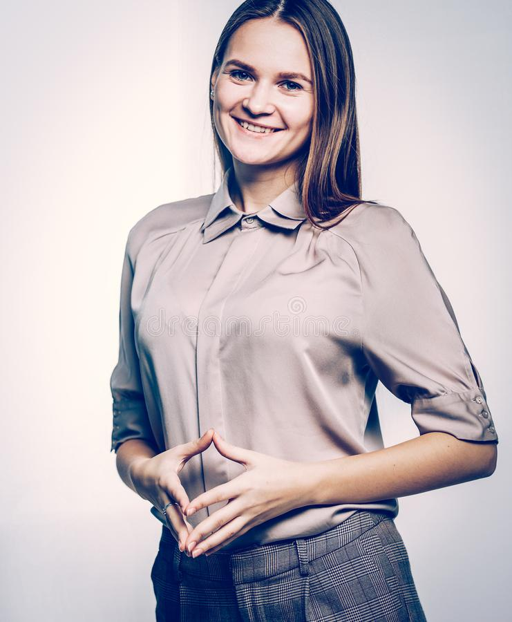 Portrait of a woman administrator on a white background. Woman administrator on a white background.the photo has a empty space for your text stock image