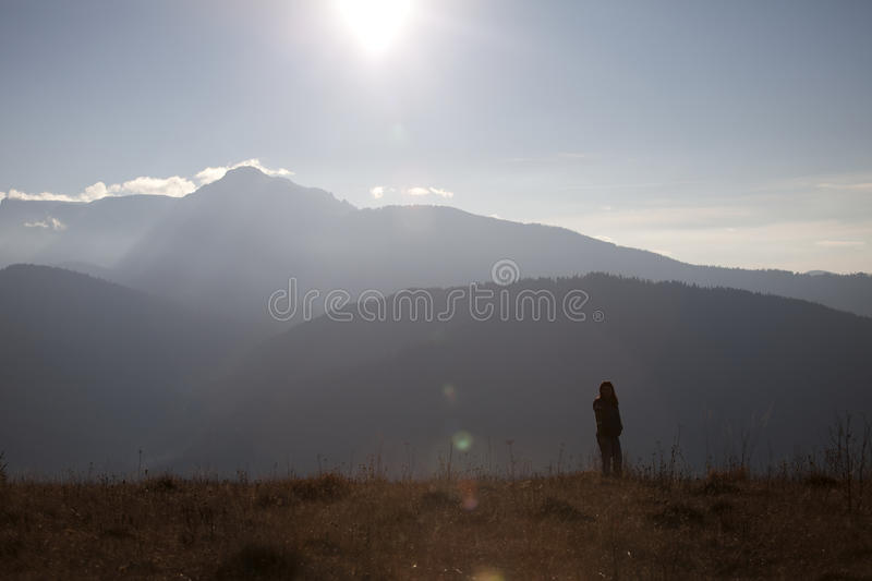 Woman admiring mountains