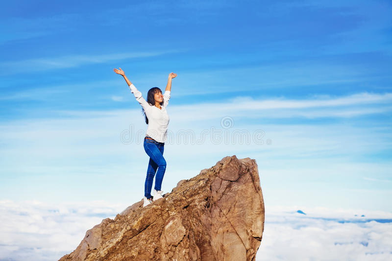 Woman in adventure stock images