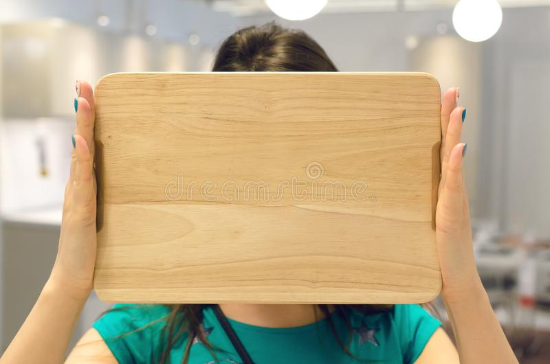 Woman with advertisement board. stock photo