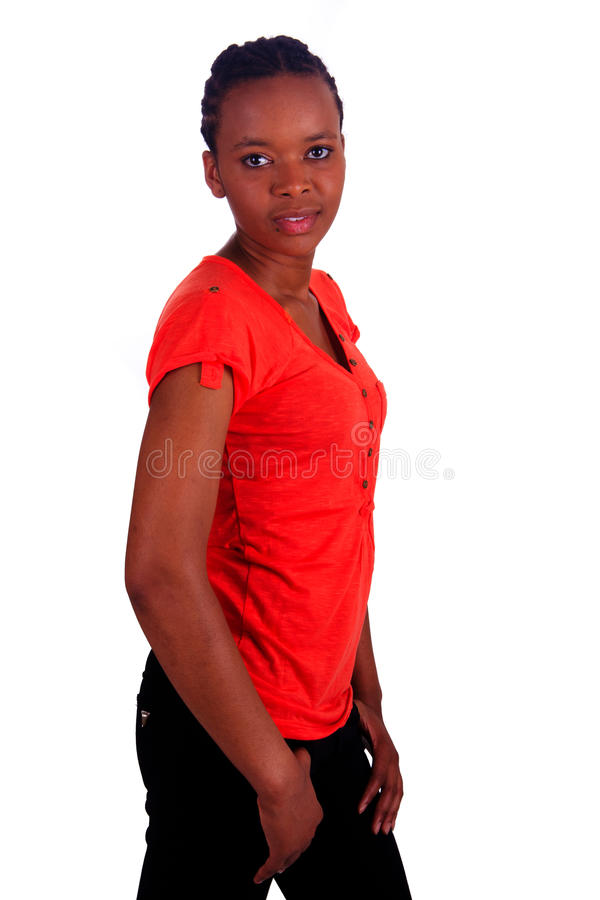 Woman african Beautiful young black isolated. Woman african metisse black think royalty free stock images