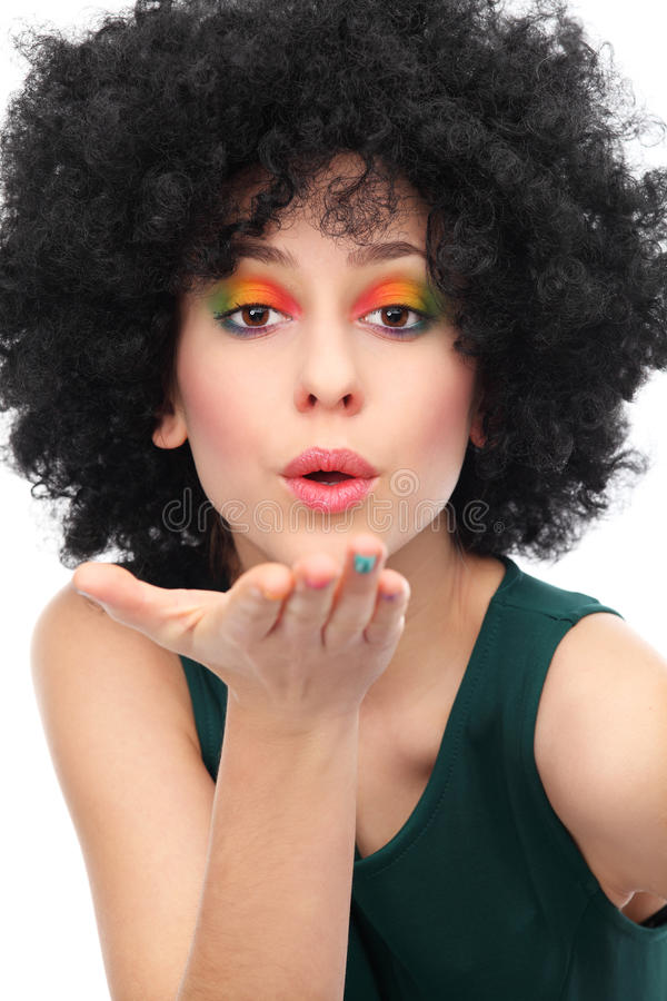 Download Woman With Afro Blowing A Kiss Stock Image - Image: 28201403